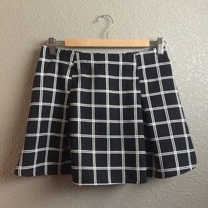 Black & White Grid Print Skirt